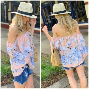 Blush floral off shoulder top